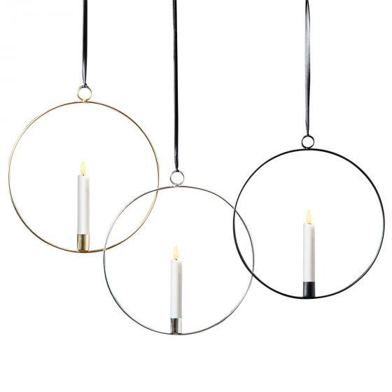 Star LED-Fensterdeko Flammenring, 30x28x2 cm, Metall und Wachs, silber | #3