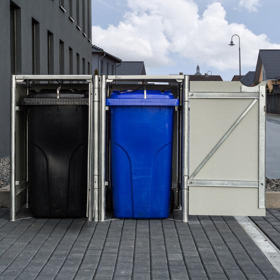 Mülltonnenbox 140l Kunststoff, 2er Box, grau | #3