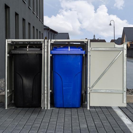 Mülltonnenbox 240l Kunststoff, 2er Box, grau | #3