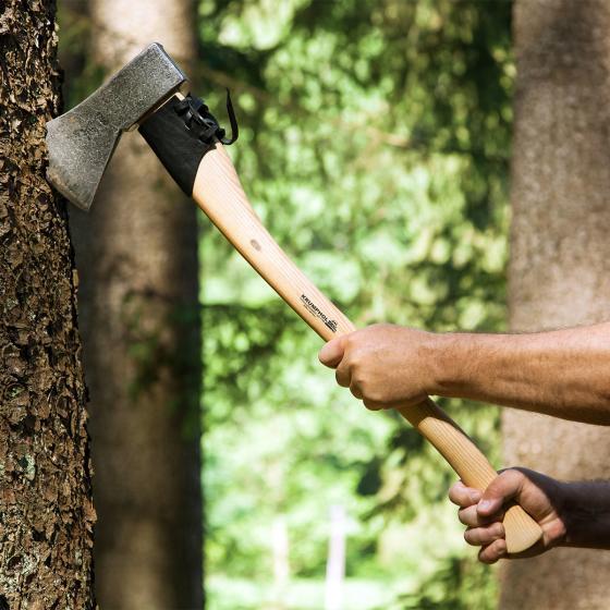 Gartenbeil mit USA-Hickorystiel, Echt-Lederschneidenschutz und Gürtelschnalle, 36 cm | #3