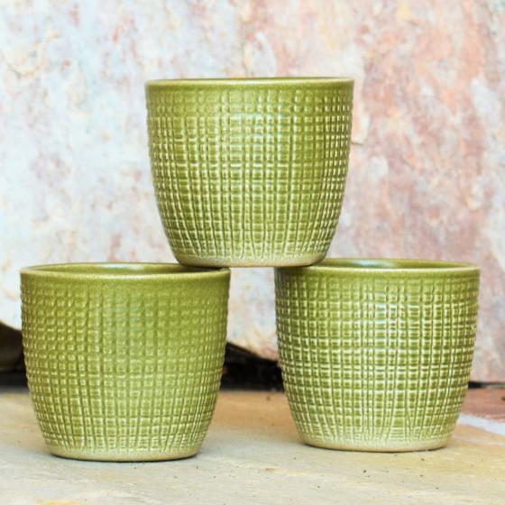 3er-Set Keramik-Übertöpfe 6cm, Grün | #3
