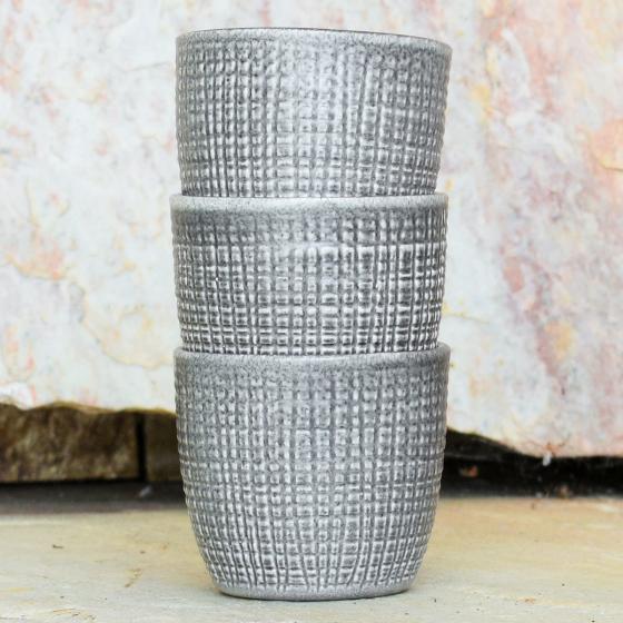3er-Set Keramik-Übertöpfe 6cm, Grau | #3