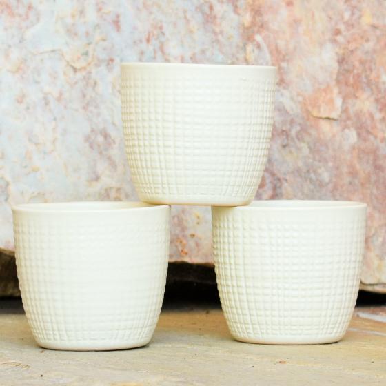 3er-Set Keramik-Übertöpfe 6cm, Vanille | #3