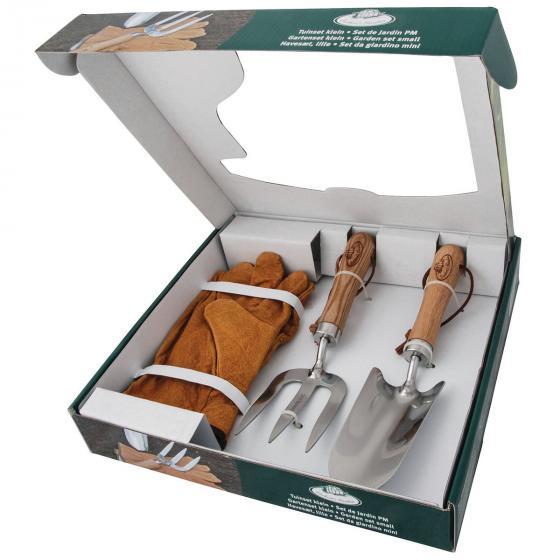 Gartenwerkzeug-Set, Hobbygärtner, Eschenholzstiel, Edelstahl, inkl. Lederhandschuhen | #3
