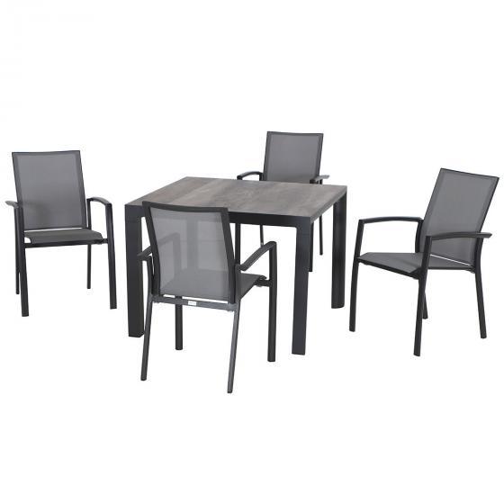 Gartenmöbel-Set Velia mit 4 Stapelstühlen und 1 quadratischer Tisch   #3