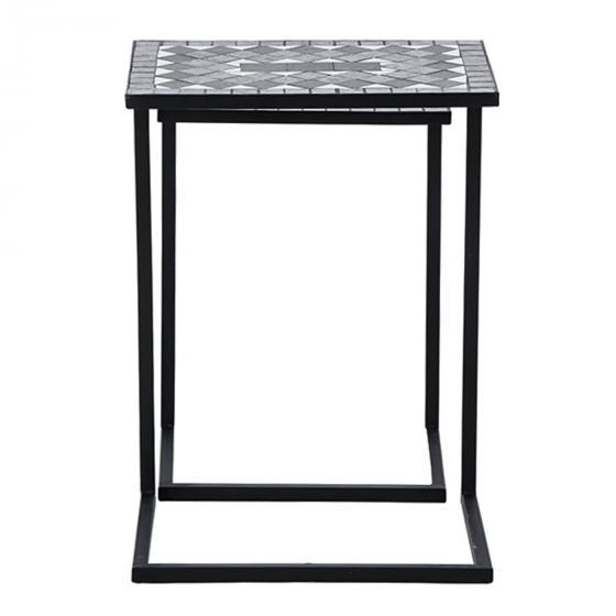 Bestelltisch Mosaik, Stahlgestell mit Keramikflächen, 2er-Set | #3