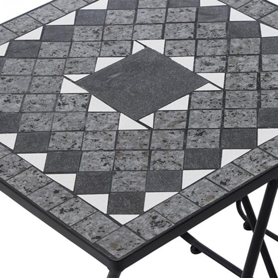 Beistelltisch Mosaik, Stahlgestell mit Keramikflächen, 2er-Set, ca. 51 x 51 x 56 cm | #3