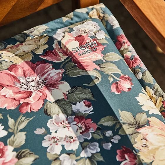 Gartenbank-Auflage Lissa, 110 cm, Blume-petrol | #3