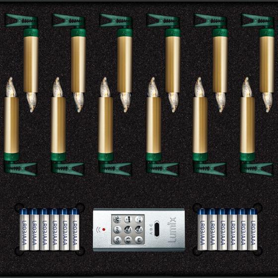 Christbaumkerzen SuperLight Mini Flame, 12er Basis-Set, gold | #3