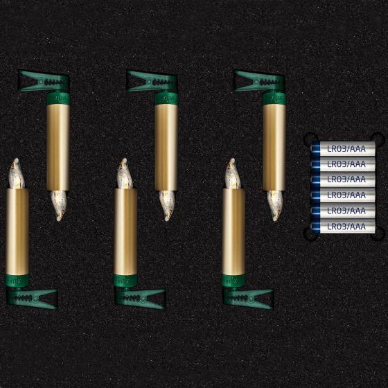 Christbaumkerzen SuperLight Mini Flame, 6er Erweiterungs-Set, gold   #3