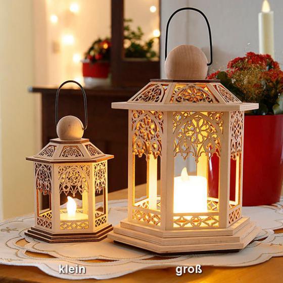 LED-Holzlaterne Lace, 14x14x20 cm, Holz, natur | #3