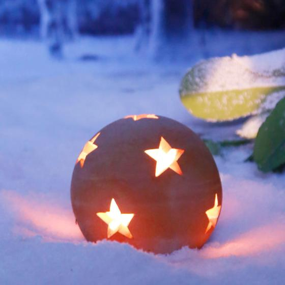 Terracotta-Dekokugel mit Sternen 12 cm | #3
