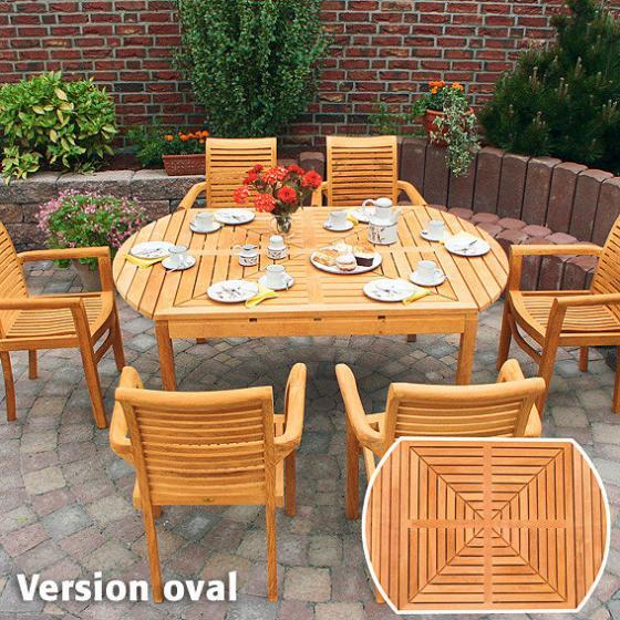 TEAK-Drei-in-Eins-Tisch (rund, oval & quadratisch) | #3