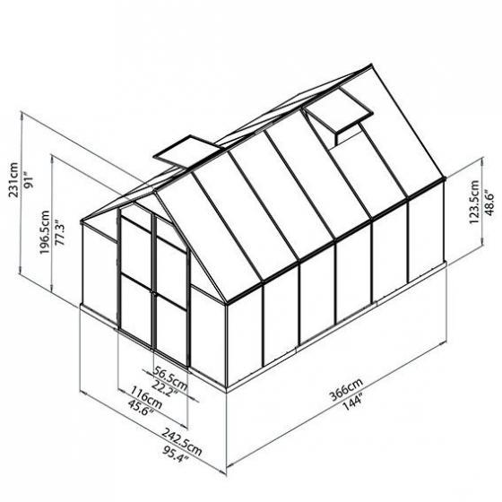 Gewächshaus Essence 8 x 12 inkl. Stahlfundament   #3