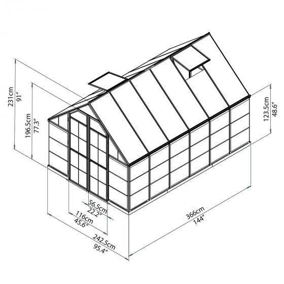 Gewächshaus Balance 8 x 12 mit Stahlfundament, 367 x 244 x 229 cm, silber   #3