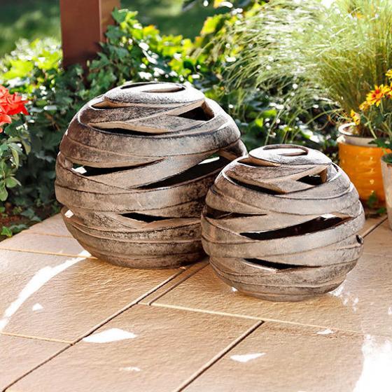 Windlicht terracotta kugel saturn gro von g rtner p tschke for Gartendeko terracotta