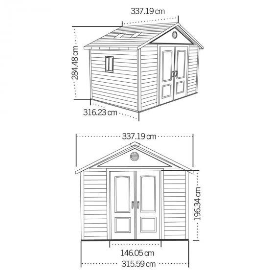 Lifetime Gerätehaus King Size, 285x337x488 cm, grau   #4
