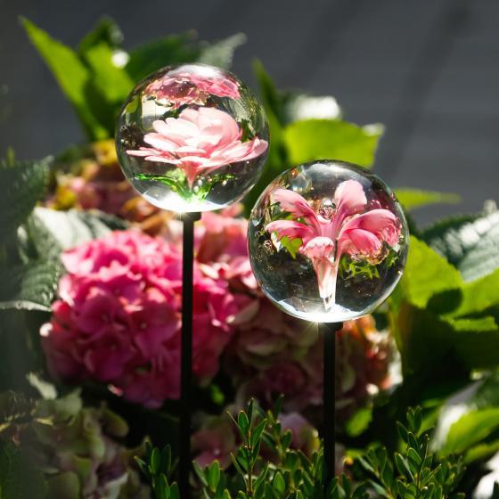 Glaskunst-Stecker pinker Blütentraum inkl. Stab, 2er-Set, 6x100 cm | #4
