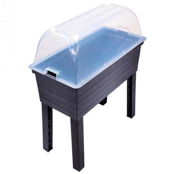 GARANTIA URBAN Balkon-Hochbeet inkl. Anzuchthaube, Kunststoff, schwarz/transparent, 75x37x87 cm | #4