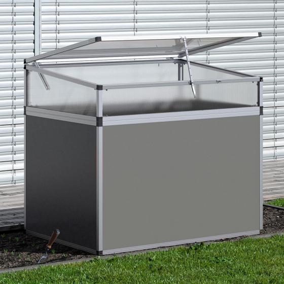 KGT Aluminium-Hochbeet 130, anthrazit/silber,  mit Frühbeetaufsatz, 121x91x109 cm | #4