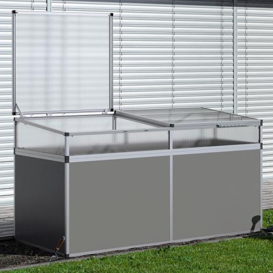 Aluminium-Hochbeet 210, anthrazit/silber, mit Frühbeetaufsatz, 205x91x109 cm | #4