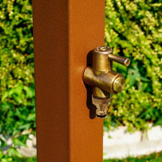 Wasserzapfsäule Quadra, 100x14x21 cm, Stahl, braun | #4