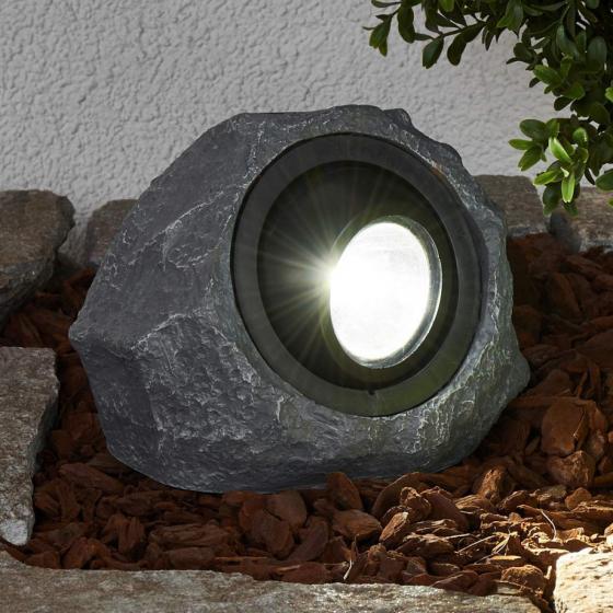 Solar-LED-Leuchtstein Lior, 16x19,5x14 cm, grau | #4