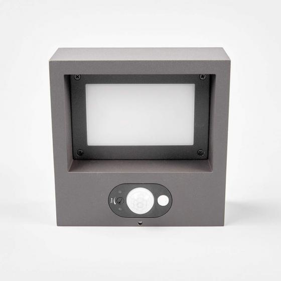 Solar-Led-Außenwandleuchte Mahra mit Bewegungsmelder, 6x14,5x14,5 cm, Aluminium, grau | #4