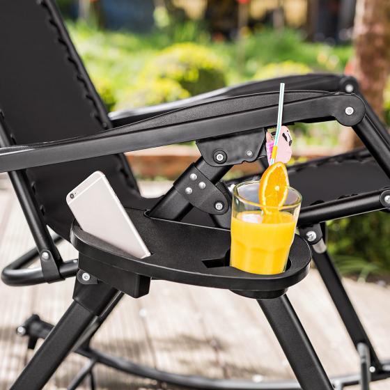 Schaukelstuhl, mit praktischem Getränkehalter, max. Traglast 120 kg, 177x87x118 cm, schwarz | #4