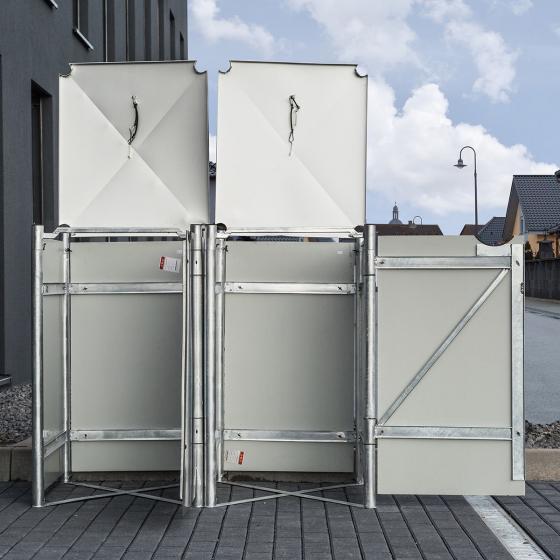 Mülltonnenbox 140l Kunststoff, 2er Box, grau | #4