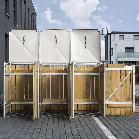 Mülltonnenbox 240l Holz, 3er Box, Natur | #4