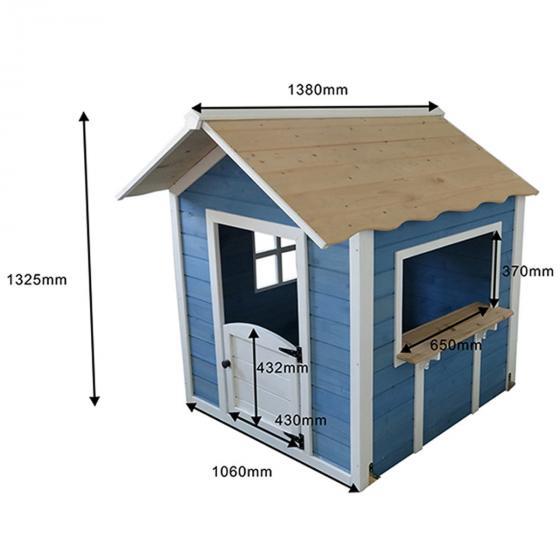 Kinder Spielhaus großer Palast, blau und weiß lasiert, ca. 138 x 118 x 132,5 cm | #4