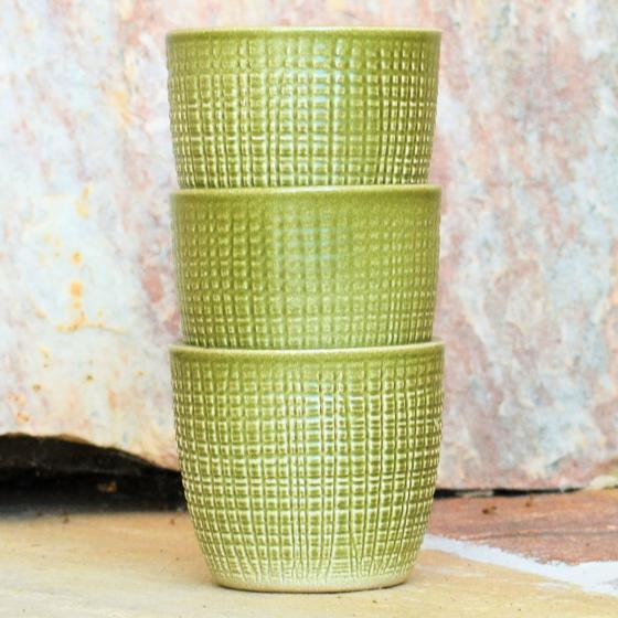 3er-Set Keramik-Übertöpfe 6cm, Grün | #4