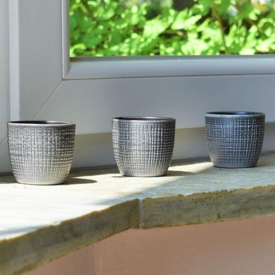 3er-Set Keramik-Übertöpfe 6cm, Grau | #4