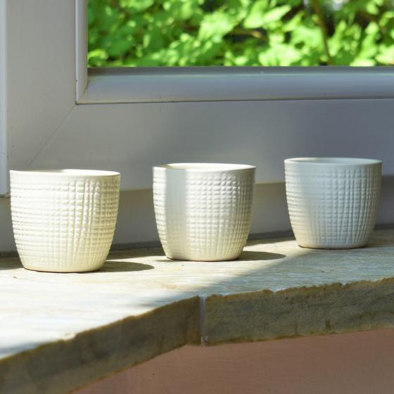 3er-Set Keramik-Übertöpfe 6cm, Vanille | #4