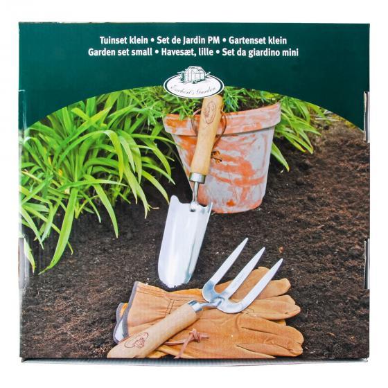 Gartenwerkzeug-Set, Hobbygärtner, Eschenholzstiel, Edelstahl, inkl. Lederhandschuhen | #4