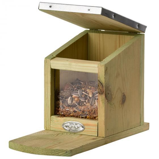 Eichhörnchen Futterhaus, mit Zinkdach und Plexiglasscheibe | #4