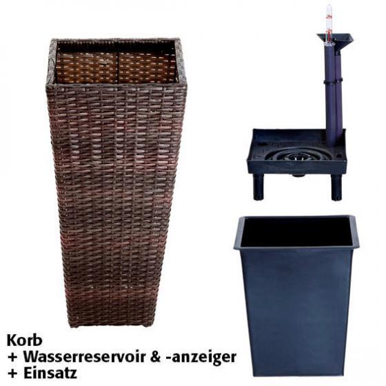 Outdoor-Rattan-Pflanzkübel mit Bewässerungssystem, konisch, 64x31x31 cm, kaffee braun | #4