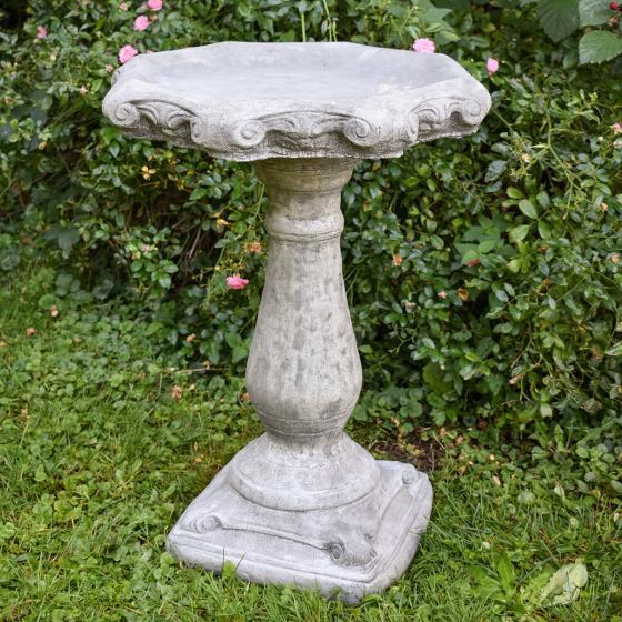 Vogeltränke Klassik-Flair auf Säule, Antik-Steinguss, ca. 69 cm | #4