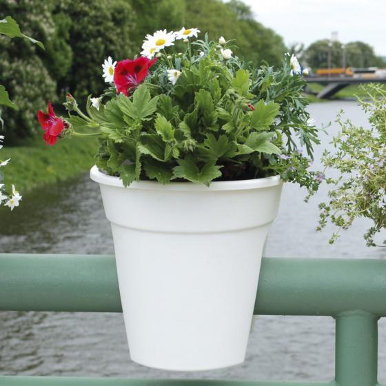 Geländertopf Flowerclip, 27 cm, weiß | #4