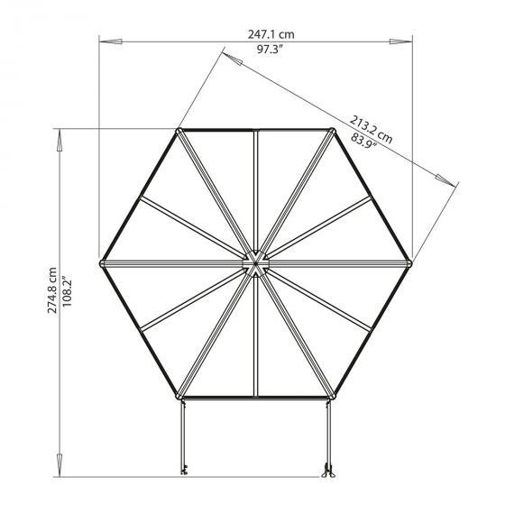 Gewächshaus Oasis Hexagonal, 247 x 247 x 225 cm, Alumium, anthrazit | #5