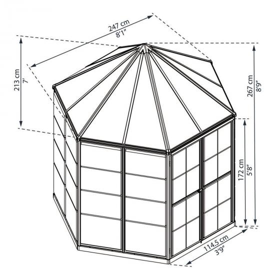Gewächshaus Oasis Hexagonal, 247 x 213 x 267 cm, Aluminium, anthrazit | #5