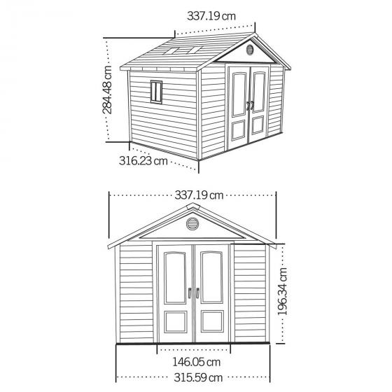Lifetime Gerätehaus King Size, 285x337x337 cm, grau   #5