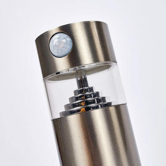 Solar-LED-Sockelleuchte Kalypso mit Bewegungsmelder, 30x7,6x7,6 cm, Edelstahl, silber | #5