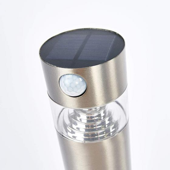 Solar-LED-Sockelleuchte Kalypso mit Bewegungsmelder, 50x7,8x7,8 cm, Edelstahl, silber | #5