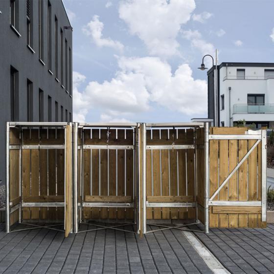 Mülltonnenbox 240l Holz, 3er Box, Natur | #5