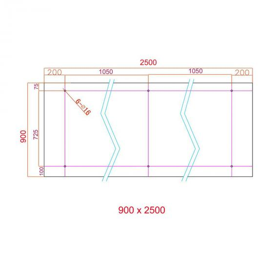 Glasvordach 250 x 90 cm   #5
