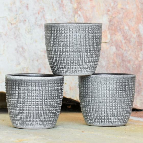 3er-Set Keramik-Übertöpfe 6cm, Grau | #5