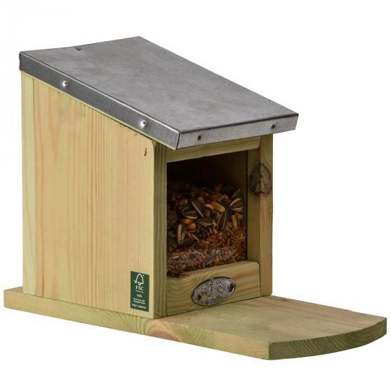 Eichhörnchen Futterhaus, mit Zinkdach und Plexiglasscheibe | #5