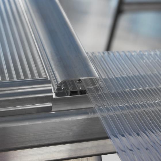 Gewächshaus Multi Line 6 x 4 inkl. Stahlfundament, 125 x 185 x 209 cm, Aluminium, silber | #5
